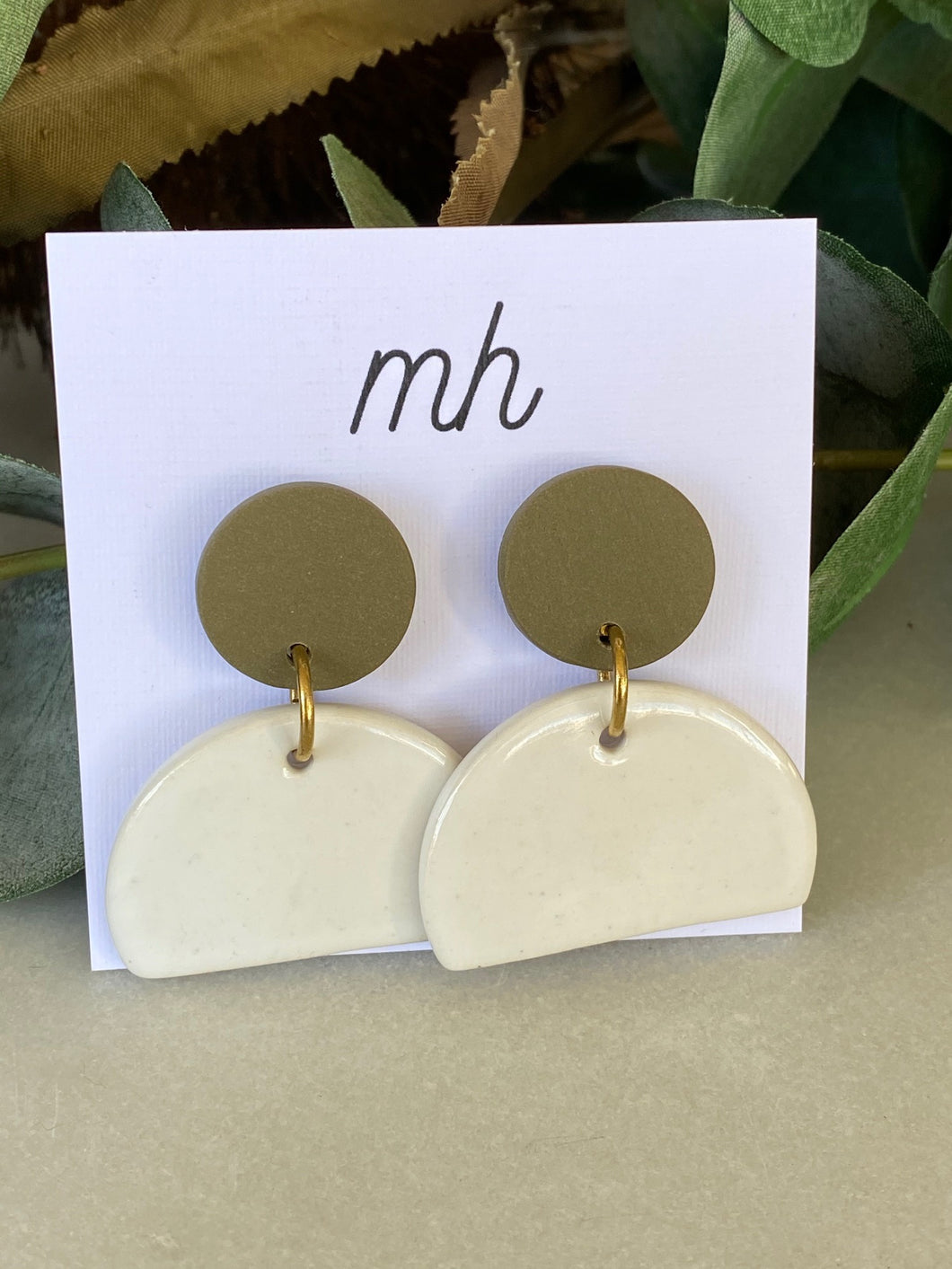 MH Ceramic Earrings - Porcelain/Polymer Large-Melanie Hardy-Bristle by Melissa Simmonds