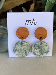 MH Porcelain Earrings - Blue Green Circles
