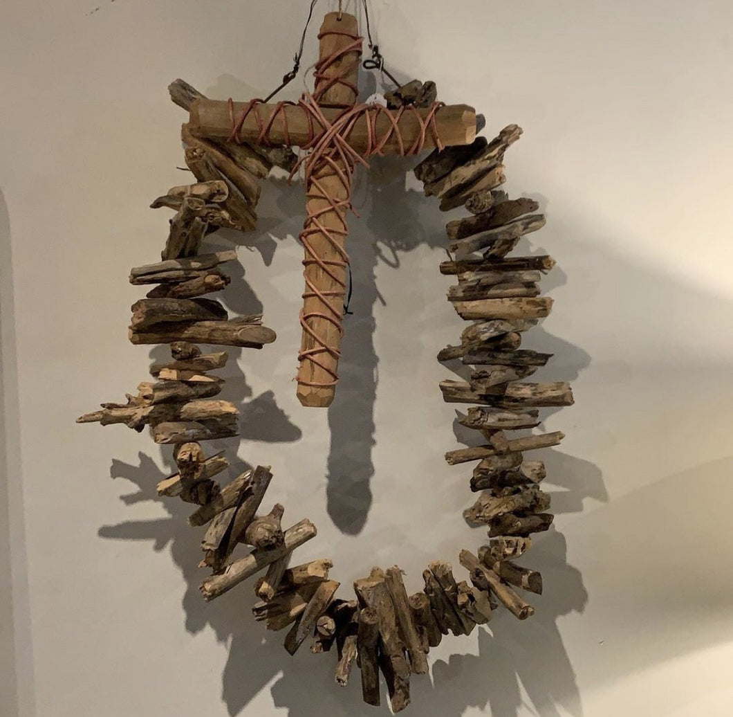 Driftwood Wallhanging with removable Cross-Home Decor-Bisque-Bristle by Melissa Simmonds