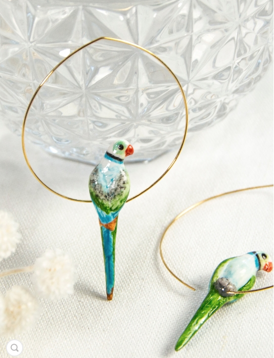 Porcelain Blue and Green Parrot Hoop Earrings-Nach-Bristle by Melissa Simmonds