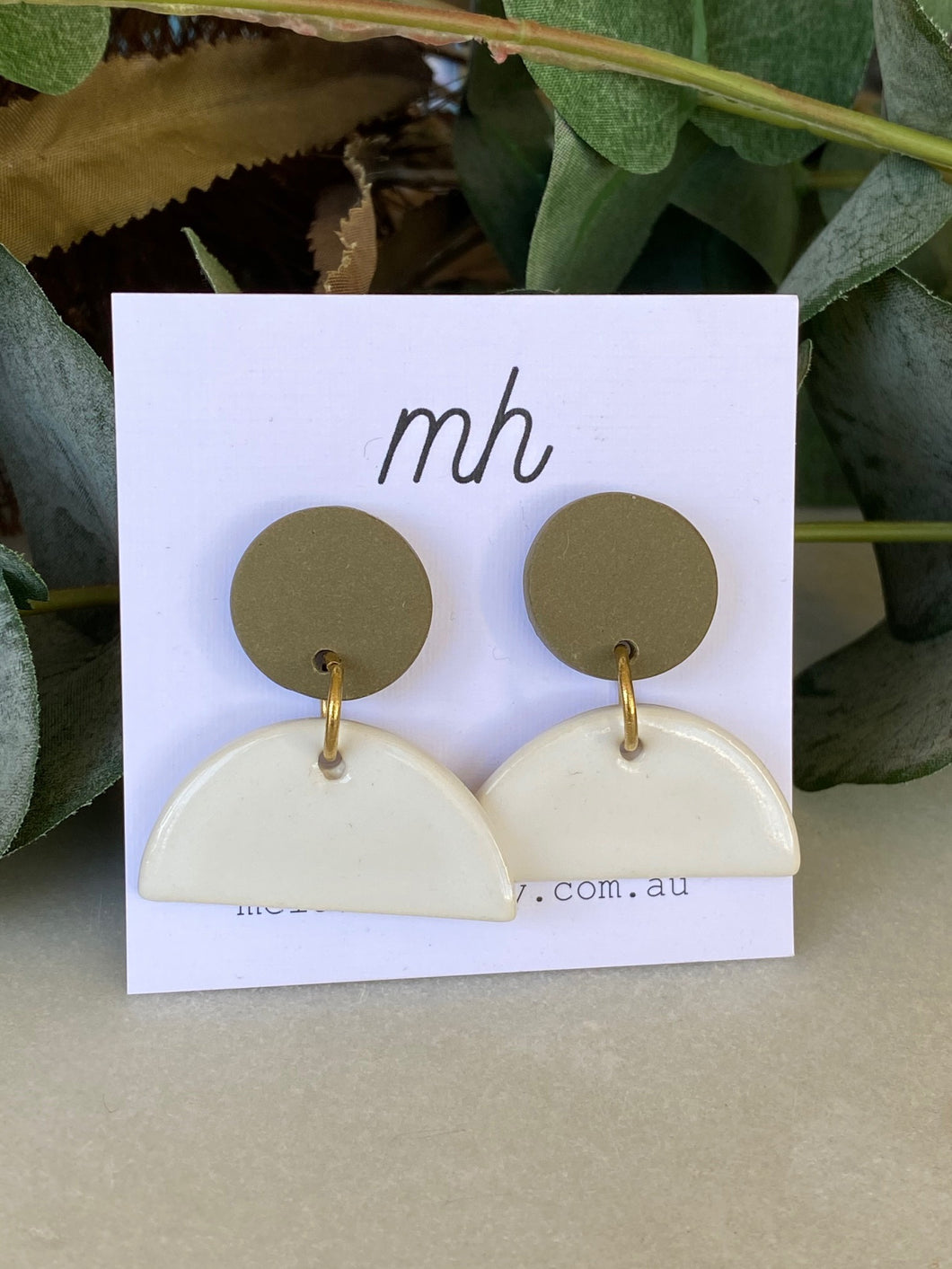 MH Ceramic Earrings - Medium Polymer Disc and White Porcelain Half Circle-Melanie Hardy-Bristle by Melissa Simmonds