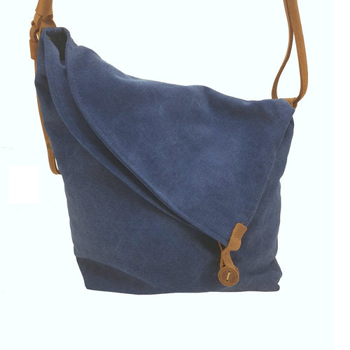 Miami Canvas and Leather Bohemian Sling Fold Bag