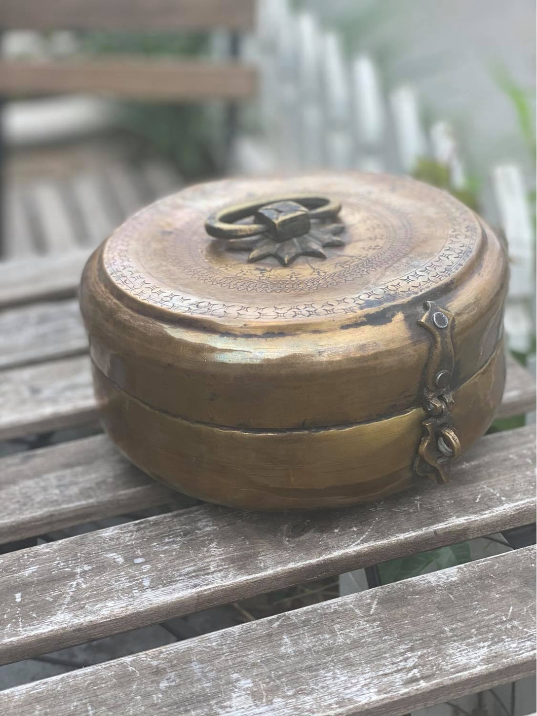 Antique Brass Chapati Box-Bisque-Bristle by Melissa Simmonds