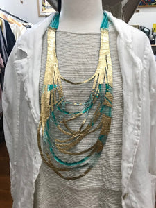 SI Illusion Long Necklace Turquoise/Aqua-Mingk-Bristle by Melissa Simmonds