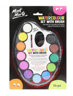 Watercolour Set with brush 14pc-Mont Marte-Bristle by Melissa Simmonds