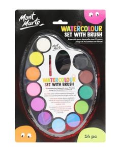 Watercolour Set with brush 14pc