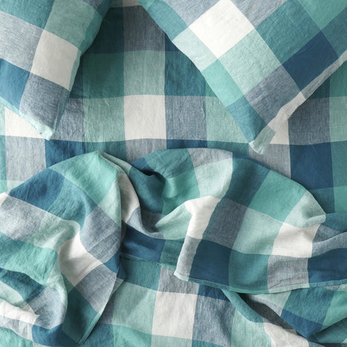Peacock Check Fitted Sheet-Society of Wanderers-Bristle by Melissa Simmonds