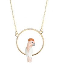 Load image into Gallery viewer, Porcelain Pink Cockatoo Mini Round Necklace
