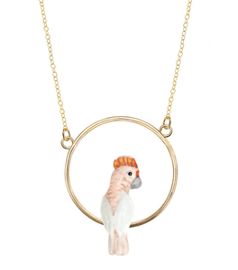 Porcelain Pink Cockatoo Mini Round Necklace