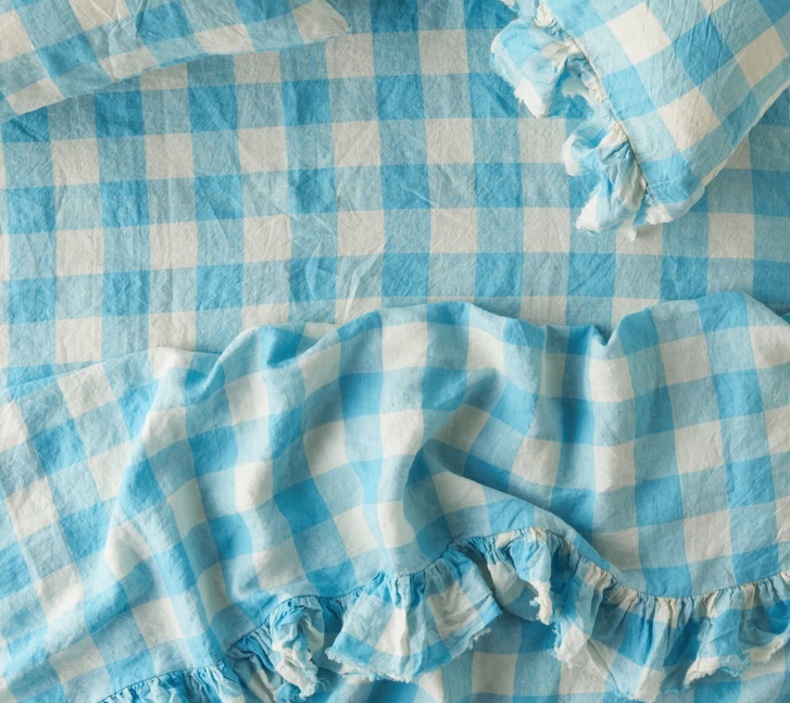 King Ruffle Flat Sheet - Ocean Blue Gingham