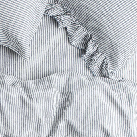 King Single Fitted Sheet (Denim Stripe)