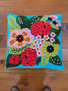 Chainstitched Cushion-Ruby Star Traders-Bristle by Melissa Simmonds