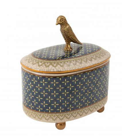 Porcelain and Brass Trinket Box - parrot