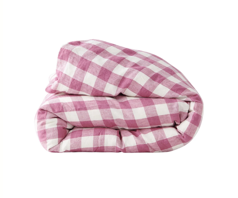 Single Duvet Cover - Fuchsia Gingham