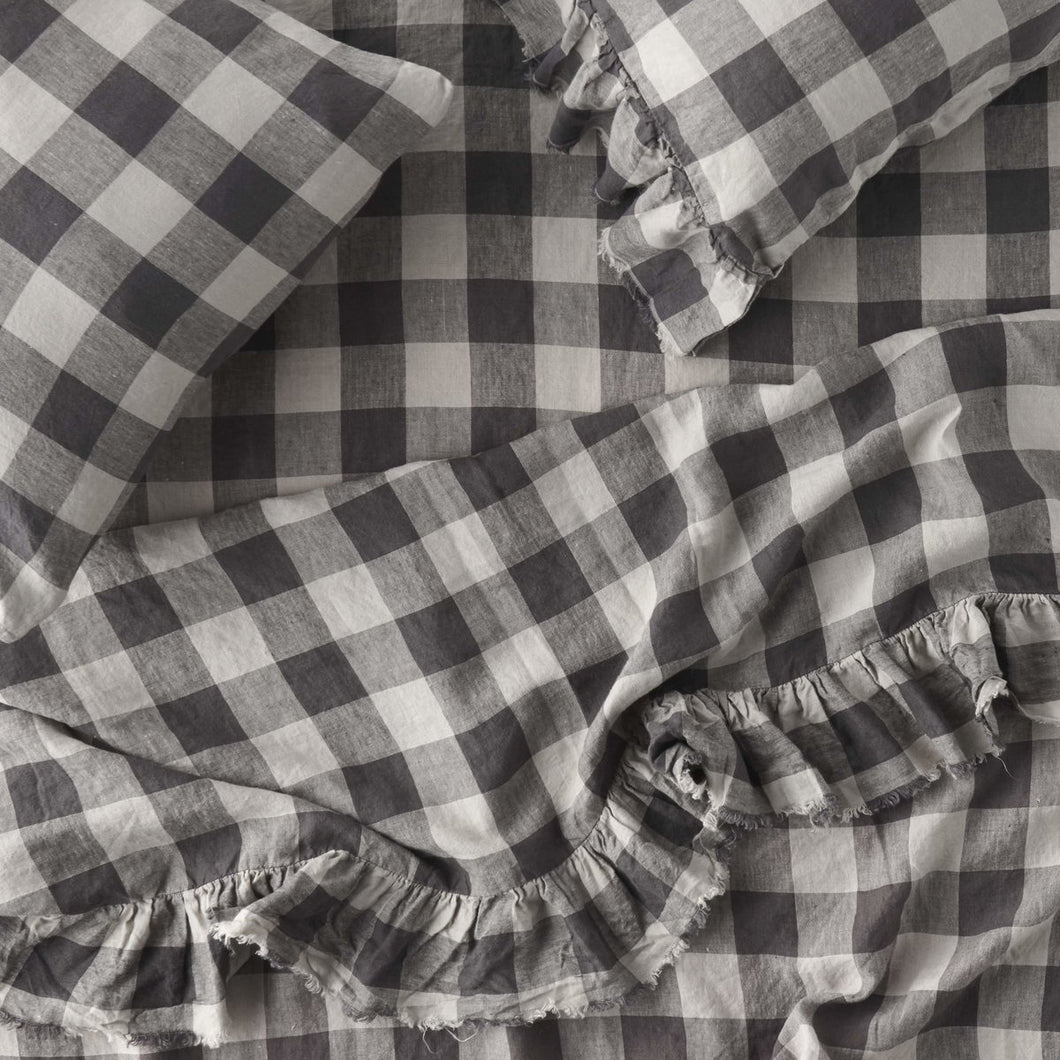Licorice Gingham Fitted Sheet-Society of Wanderers-Bristle by Melissa Simmonds
