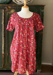 Arabella Block Printed Nightie with Sleeves - Red Floral-Arabella-Bristle by Melissa Simmonds
