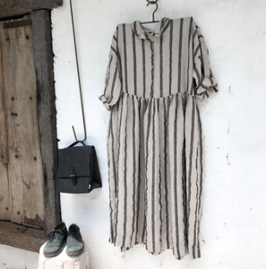 Edith Linen Black and Natural Stripe Dress-Meg by Design-Bristle by Melissa Simmonds