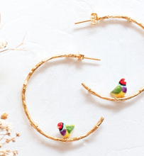 Load image into Gallery viewer, Porcelain Gouldian Finch Bird Branch Earrings-Nach-Bristle by Melissa Simmonds