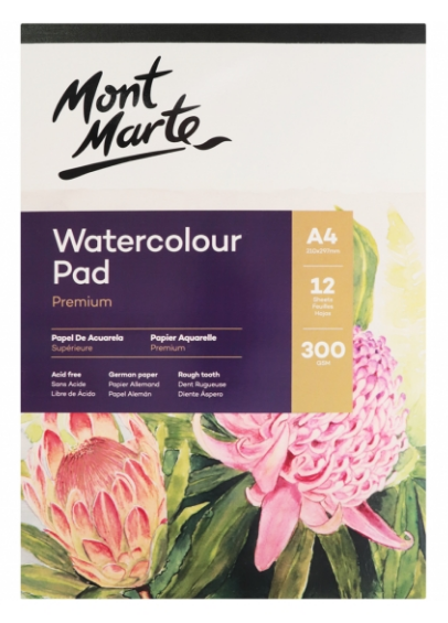Premium Watercolour Pad German Paper 300gsm A4 12 Sheet