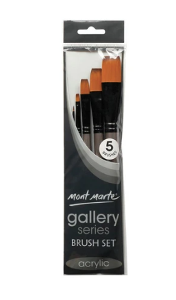 Gallery Series Brush Set Acrylic 5pce-Mont Marte-Bristle by Melissa Simmonds