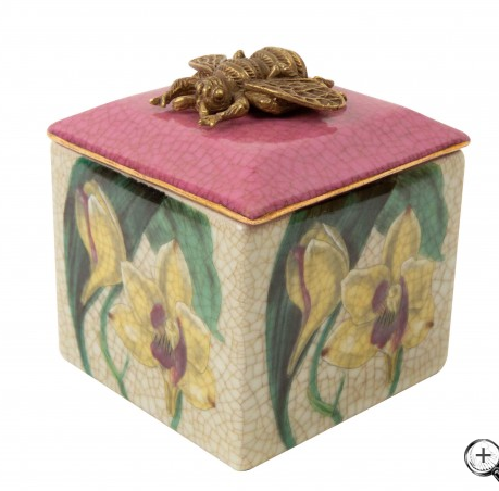 Bee porcelain and brass trinket box