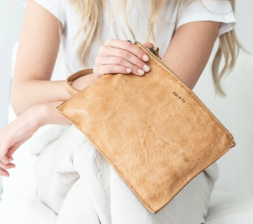 Large Flat Pouch Natural-Juju & Co-Bristle by Melissa Simmonds