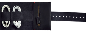 Cord Roll in Black Leather