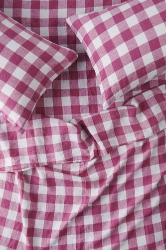 King Flat Sheet - Fuchsia Gingham-Society of Wanderers-Bristle by Melissa Simmonds