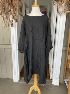 Bella Linen Dress - Charcoal
