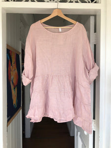 Stella Linen Top - Dusty Pink