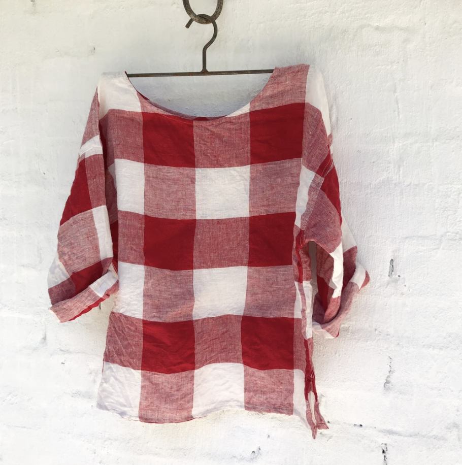 Jane Linen Top - Red and White Square-Meg by Design-Bristle by Melissa Simmonds
