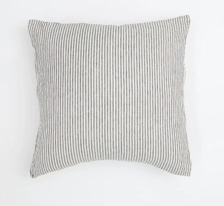European Pillowcase Set - Charcoal Stripe