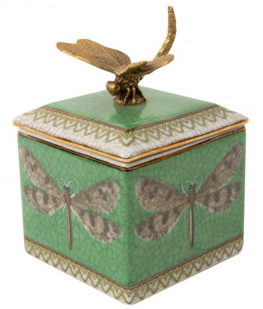 Dragonfly Porcelain and Brass Trinket Box-Creatively Active Minds-Bristle by Melissa Simmonds
