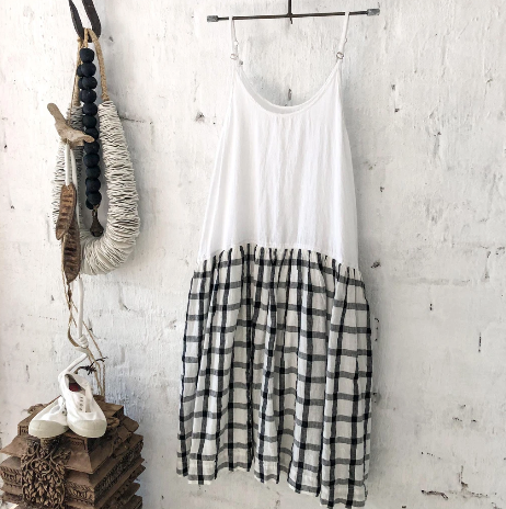 High Tea Slip Dress - Black & White Grid