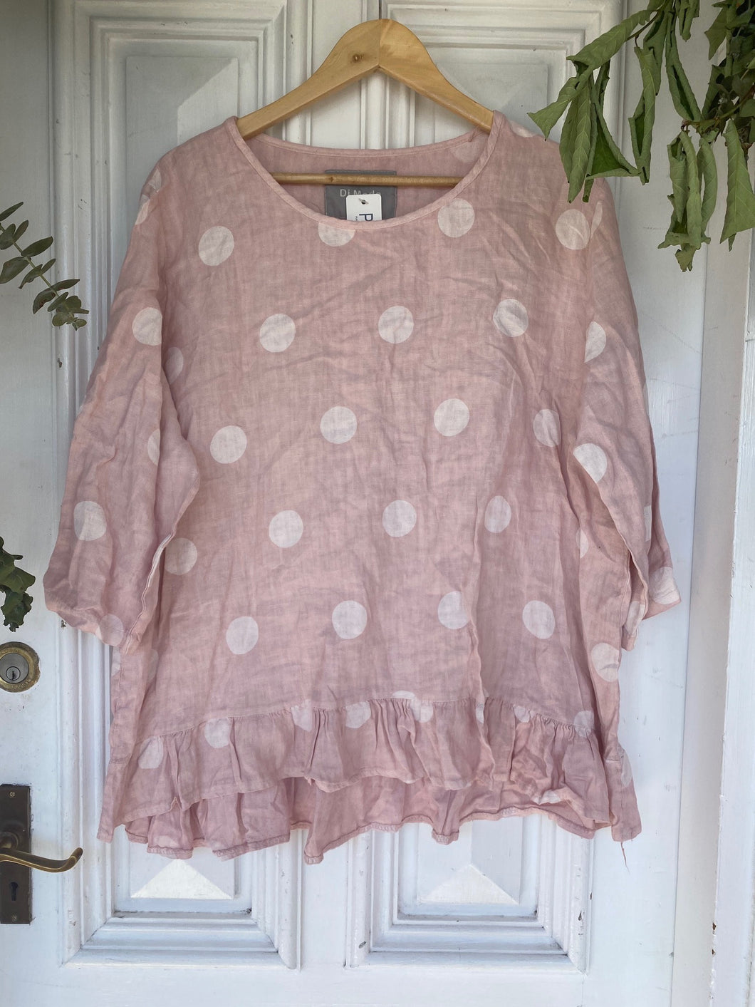 Polka Top with Frill - Dusty Pink-DiModa-Bristle by Melissa Simmonds