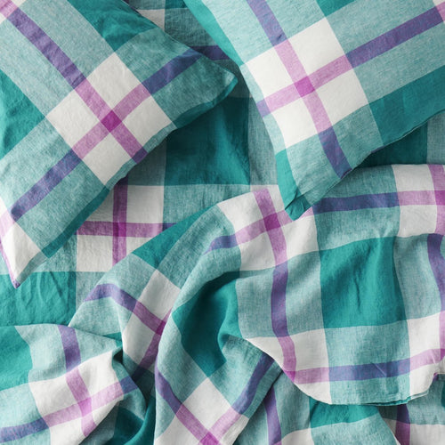 Jelly Bean Check Flat Sheet-Society of Wanderers-Bristle by Melissa Simmonds