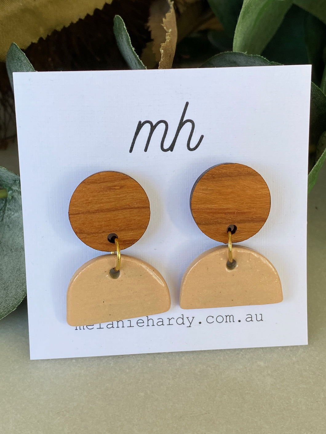 MH Ceramic Earrings - Small Bamboo Disc with Pink Half Circle-Melanie Hardy-Bristle by Melissa Simmonds