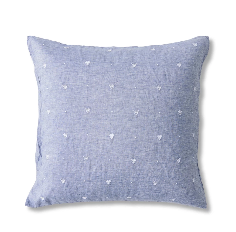 European Pillowcase Set - Embroidered Chambray