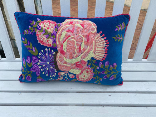 Bloom Cushion - Blue Multi-Ruby Star Traders-Bristle by Melissa Simmonds