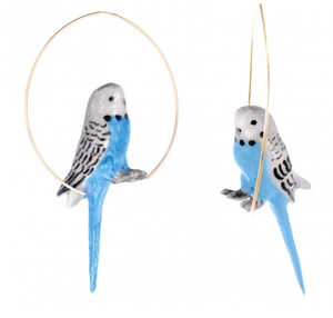 Blue Budgerigar Bird Hoop Earring-Nach-Bristle by Melissa Simmonds