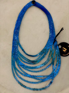 SI Illusion Short Necklace Blue/Multi-Mingk-Bristle by Melissa Simmonds