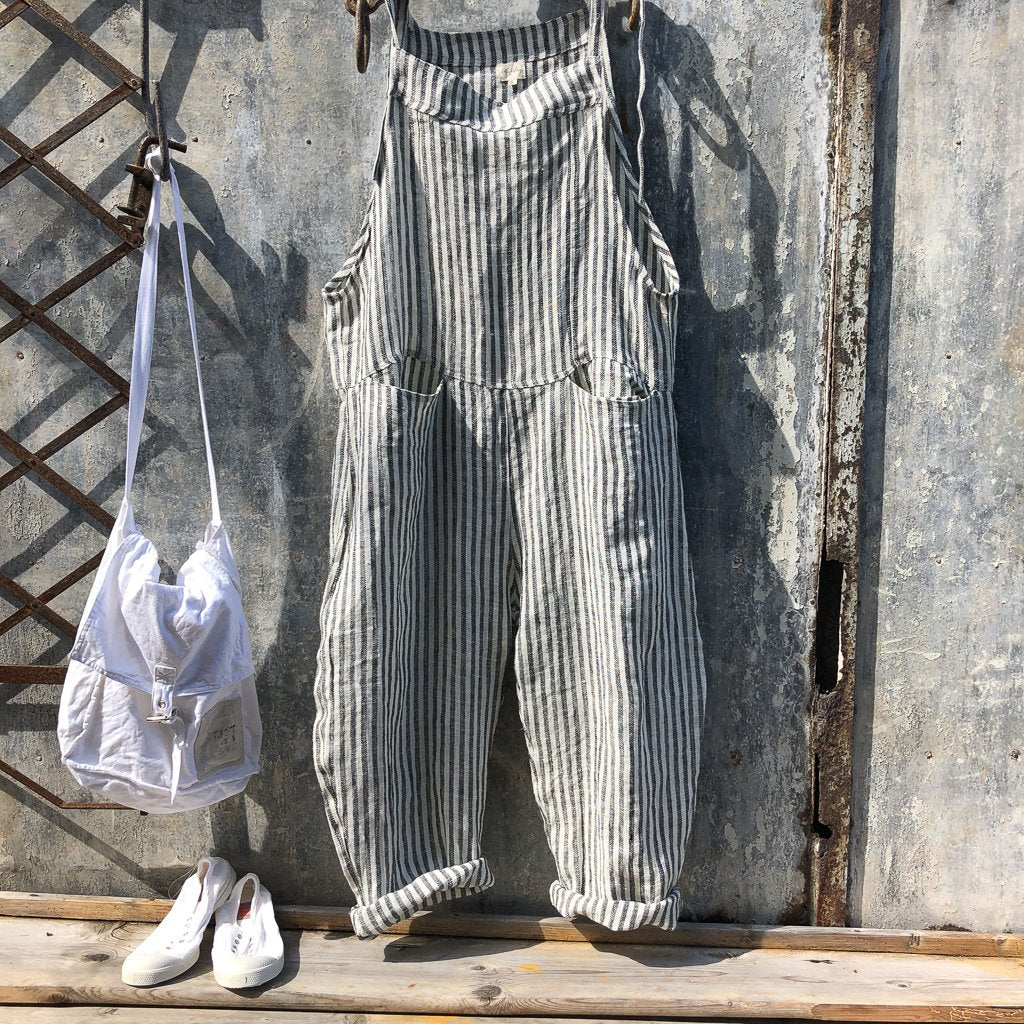 Dungarees Linen Black and White Stripe