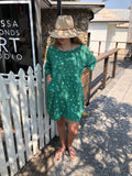 Astra Linen  Dress - Emerald