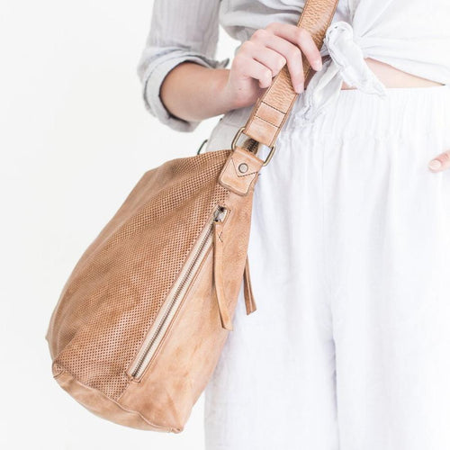 Perforated Leather Slouchy Bag Natural-Accessories-Juju & Co-Bristle by Melissa Simmonds