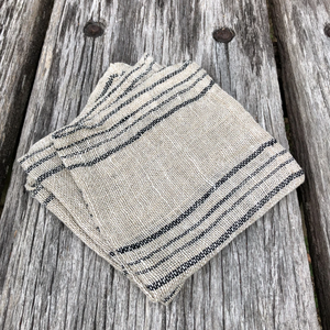 Face Cloth - Light Natural with Black Stripe (Set of Three)-Meg by Design-Bristle by Melissa Simmonds