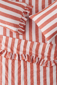 King Fitted Sheet - Cherry Stripe-Society of Wanderers-Bristle by Melissa Simmonds
