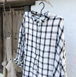 Harper Linen Shirt Black & White Grid