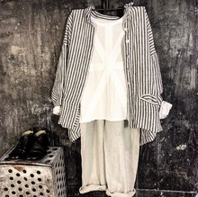 Load image into Gallery viewer, Pieta Linen Shirt - Black and White Striped-Meg by Design-Bristle by Melissa Simmonds