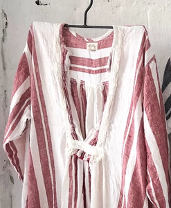 Bronte Linen Dress - Red and White
