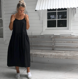 Cotton Poplin Slip Dress - Black